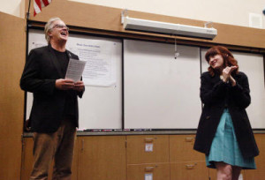 "Music teacher Kelly Johnson is asked to critique actor Tim Robbin's solo performance of ""Homeward Bound"" after he participates in a practice session with her 5th and 6th grade chorus at Burbank Elementary School in Hayward, Calif., on Friday, Feb. 20, 2015.  Robbins was visiting the school as part of the Turnaround Arts program, an intensive arts education resource for struggling schools  that is part of the President's Committee on the Arts and Humanities.  (Laura A. Oda/Bay Area News Group)"